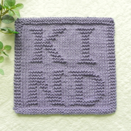 Kind dishcloth lavender, knitted letters